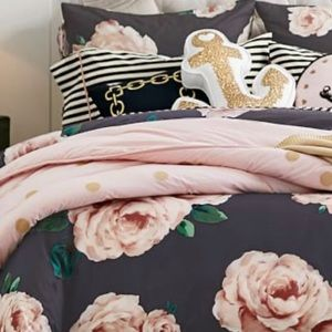 Pottery Barn Duvet Cover, black with pink roses